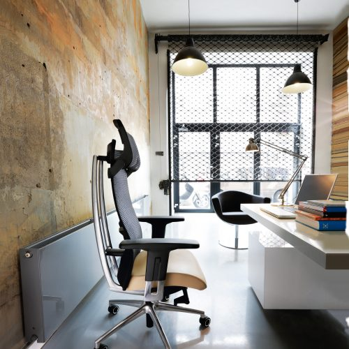 Action Mesh Chair Industrial Scene
